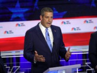 MIAMI, FLORIDA - JUNE 26: Rep. Tim Ryan (D-OH) speaks as New York City Mayor Bill De Blasio (L) and former housing secretary Julian Castro (R) look on during the first night of the Democratic presidential debate on June 26, 2019 in Miami, Florida. A field of 20 Democratic presidential …