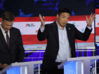 MIAMI, FLORIDA - JUNE 27: Former tech executive Andrew Yang gestures during the second night of the first Democratic presidential debate on June 27, 2019 in Miami, Florida. A field of 20 Democratic presidential candidates was split into two groups of 10 for the first debate of the 2020 election, …