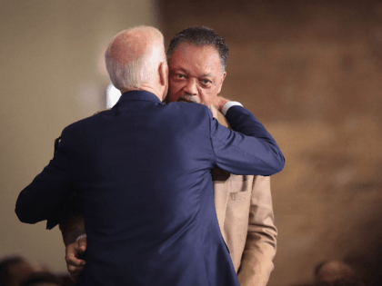 Democratic presidential candidate, former Vice President Joe Biden greets Rev. Jesse Jackson after addressing guests at the Rainbow PUSH Coalition Annual International Convention on June 28, 2019 in Chicago, Illinois. Biden is one of 25 candidates seeking the Democratic nomination for president and the opportunity to face President Donald Trump …