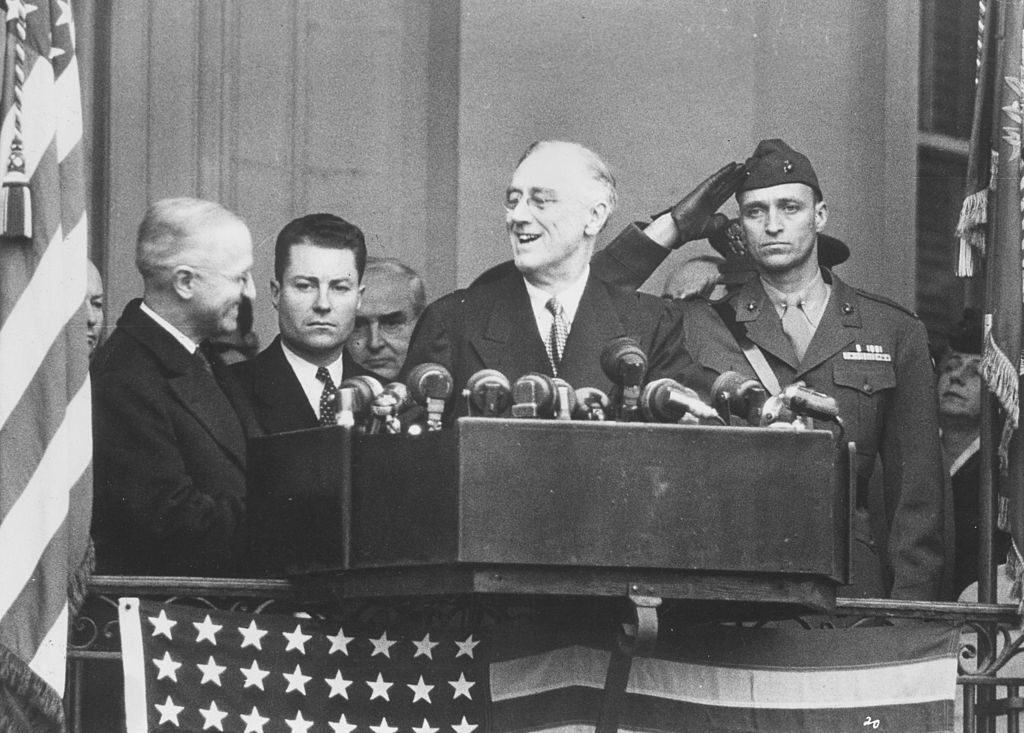 September 1944: American president, Franklin Delano Roosevelt, (1882-1945) speaking on a platform during his fourth presidential inauguration. (Photo by Keystone Features/Getty Images)