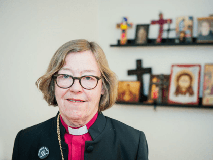 The Bishop of Stockholm, Eva Brunne, poses for a picture at her office in Stockholm, Sweden on February 5, 2016. Eva Brunne, a female pastor, has been named by Sweden's Lutheran Church as the country's first openly homosexual bishop on November 8, 2009. / AFP / JONATHAN NACKSTRAND / TO …