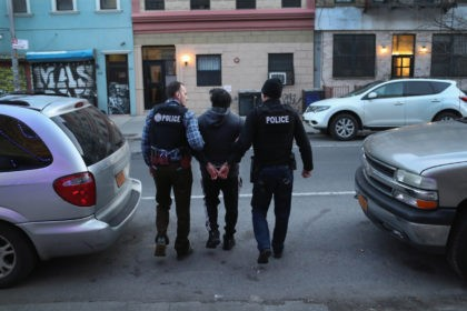 """NEW YORK, NY - APRIL 11: U.S. Immigration and Customs Enforcement (ICE), officers arrest an undocumented Mexican immigrant during a raid in the Bushwick neighborhood of Brooklyn on April 11, 2018 in New York City. New York is considered a """"sanctuary city"""" for undocumented immigrants, and ICE receives little or …"""