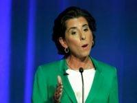 Rhode Island gubernatorial candidate Democratic Gov. Gina Raimondo participates in a televised debate, Thursday, Sept. 27, 2018, in Bristol, R.I. (AP Photo/Steven Senne)