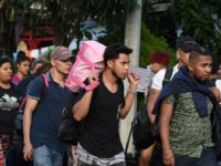 Honduran migrants heading to the United States with a second caravan walk upon arrival at the customs in Agua Caliente, in the Honduras-Guatemala border on January 15, 2019. - Hundreds of Hondurans have set out on a trek to the United States, forming another caravan that US President Donald Trump …