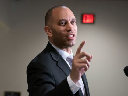 Rep. Hakeem Jeffries, D-N.Y., the House Democratic Caucus chair, fends off reporters' questions about President Donald Trump and the Mueller report, at the Capitol in Washington, Monday, March 25, 2019. (AP Photo/J. Scott Applewhite)