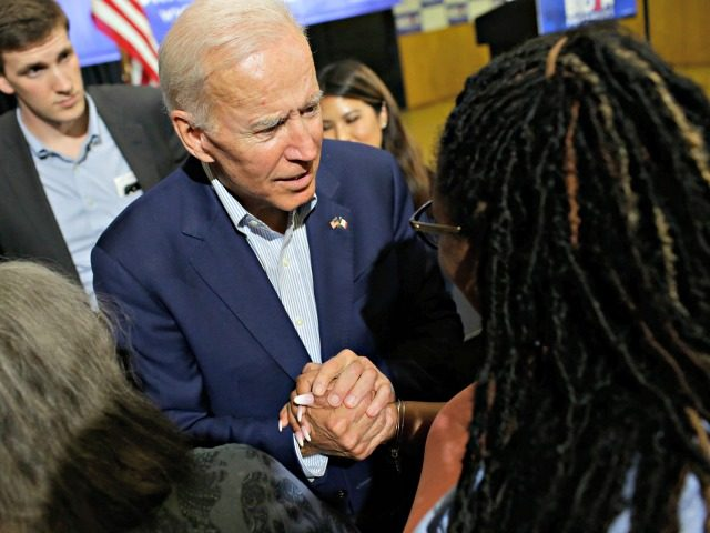 DAVENPORT, IA - JUNE 11: Former vice president and 2020 Democratic presidential candidate Joe Biden greets an attendee during a campaign event on June 11, 2019 in Davenport, Iowa. Biden and over two dozen presidential candidates are seeking the Democratic nomination to challenge Republican President Donald Trump during the 2020 …