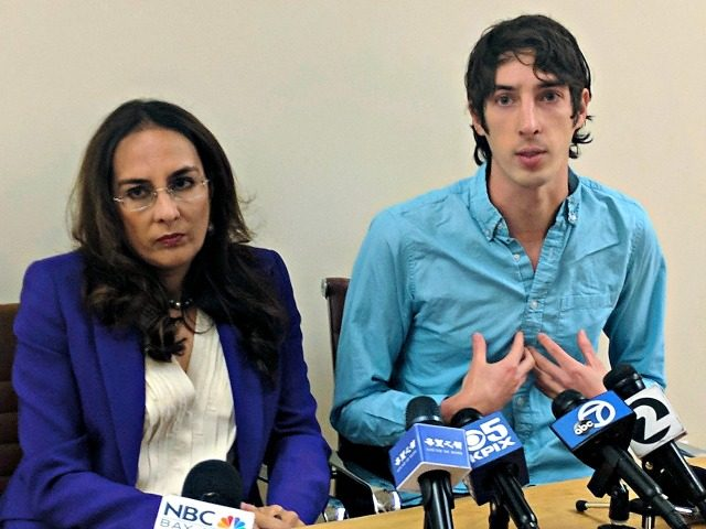 James Damore and his attorney, Harmeet Dhillon, in San Francisco on January 8, 2018.Michael Liedtke / AP
