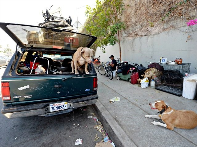 LOS ANGELES, CA - SEPTEMBER 23: A homeless man for over 30 years who lives inside his car repairs a bicycle as his dog Honey and neighbor's dog Niko stand guard September 23, 2015, in the Hollywood section of Los Angeles, California. Mayor Eric Garcetti and City Council members declared …