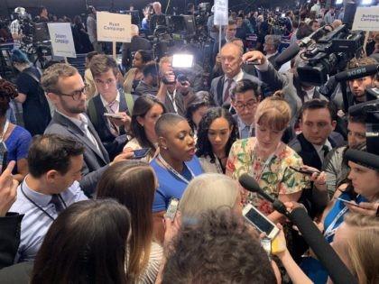 Symone Sanders spin room (Joel Pollak / Breitbart News)