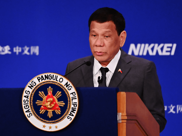 Philippine President Rodrigo Duterte delivers a speech during the 25th International Conference on The Future Of Asia in Tokyo on May 31, 2019. (Photo by CHARLY TRIBALLEAU / AFP) (Photo credit should read CHARLY TRIBALLEAU/AFP/Getty Images)