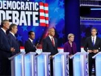 MIAMI, FLORIDA - JUNE 26: Democratic presidential candidates New York City Mayor Bill De Blasio (L-R), Rep. Tim Ryan (D-OH), former housing secretary Julian Castro, Sen. Cory Booker (D-NJ), Sen. Elizabeth Warren (D-MA), and former Texas congressman Beto O'Rourke take part in the first night of the Democratic presidential debate …