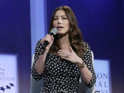 The LEGO Foundation Chief Executive Officer Hanne Rasmussen(L) listens as Actress Jessica Biel speaks during the Clinton Global Initiative annual meeting September 28, 2015 in New York. AFP PHOTO/Joshua Lott (Photo credit should read Joshua LOTT/AFP/Getty Images)