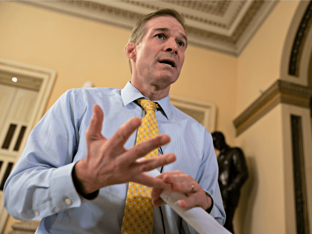 Rep. Rep. Jim Jordan, R-Ohio, the top Republican on the Democrat-controlled House Oversight and Reform Committee, speaks to The Associated Press about special counsel Robert Mueller's investigation of whether President Donald Trump or his campaign colluded with Russians to interfere in the 2016 presidential election, at the Capitol in Washington, …