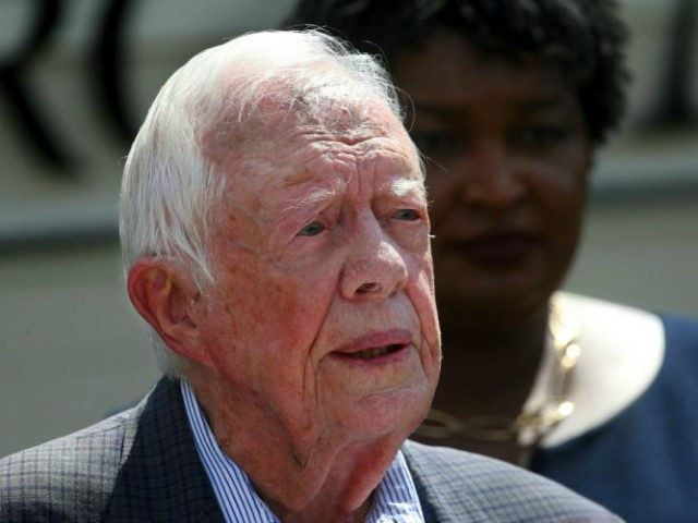 FILE- In this Sept. 18, 2018 file photo, former President Jimmy Carter speaks during a news conference, in Plains, Ga. A spokeswoman says former U.S. President Jimmy Carter says he has broken his hip. She said that Carter underwent surgery at a medical center in Americus, Ga. (AP Photo/John Bazemore, …