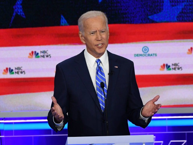 Democratic presidential hopeful former US Vice President Joseph R. Biden speaks during the second Democratic primary debate of the 2020 presidential campaign season hosted by NBC News at the Adrienne Arsht Center for the Performing Arts in Miami, Florida, June 27, 2019. (Photo by SAUL LOEB / AFP) (Photo credit …
