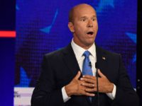 Democratic presidential hopeful former US Representative for Maryland's 6th congressional district John Delaney gestures as he speaks during the first Democratic primary debate of the 2020 presidential campaign season hosted by NBC News at the Adrienne Arsht Center for the Performing Arts in Miami, Florida, June 26, 2019. (Photo by …