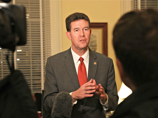 MONTGOMERY, AL - DECEMBER 12: John Merrill, Secretary of State of Alabama, speaks to the media in the Capitol building about the possible recount to determine the winner between Republican Senatorial candidate Roy Moore and his Democratic opponent Doug Jones on December 12, 2017 in Montgomery, Alabama. Jones has been …