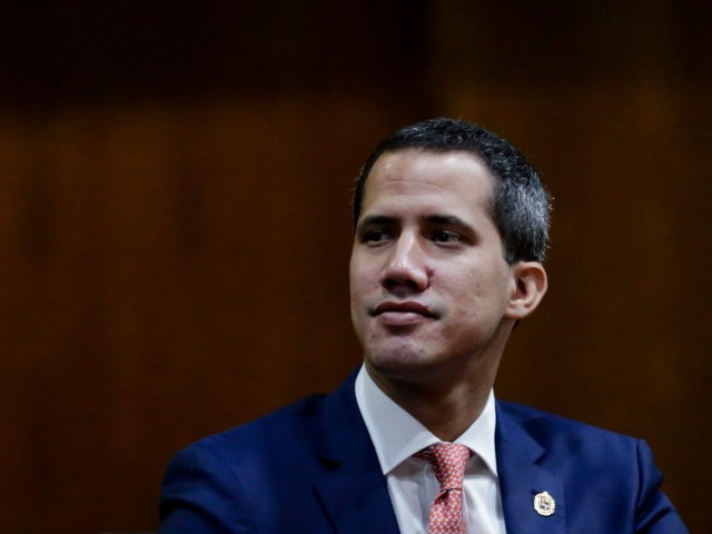 CARACAS, VENEZUELA - MAY 24: Venezuelan opposition leader Juan Guaido, recognized by many members of the international community as the country's rightful interim ruler, looks on during the international Congress to debate Plan Pais government proposals on May 24, 2019 in Caracas, Venezuela. (Photo by Eva Marie Uzcategui/Getty Images)