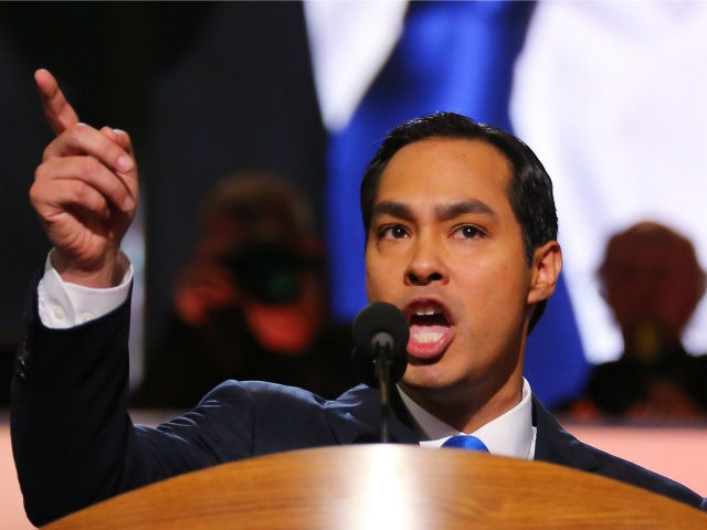 San Antonio Mayor Julian Castro gives the keynote address on stage during day one of the Democratic National Convention at Time Warner Cable Arena on September 4, 2012 in Charlotte, North Carolina. The DNC that will run through September 7, will nominate U.S. President Barack Obama as the Democratic presidential …