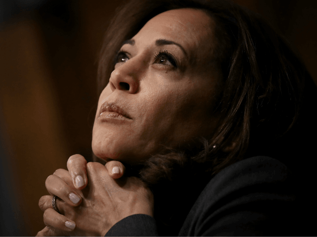 WASHINGTON, DC - MARCH 06: U.S. Sen. Kamala Harris (D-CA) listens to testimony from Kevin K. McAleenan, commissioner of U.S. Customs and Border Protection, during a Senate Judiciary Committee hearing March 6, 2019 in Washington, DC. McAleenan told reporters yesterday that the latest statistics show migrant crossings at the Mexican …