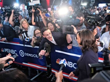 Democratic presidential hopeful US Senator for California Kamala Harris speaks to the press in the Spin Room after participating in the second Democratic primary debate of the 2020 presidential campaign season hosted by NBC News at the Adrienne Arsht Center for the Performing Arts in Miami, Florida, June 27, 2019. …