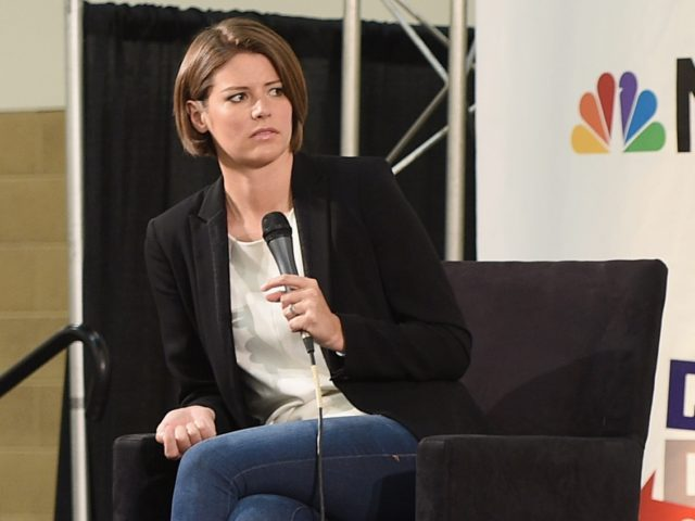 PASADENA, CA - JULY 30: (L-R) Kasie Hunt, Jacob Soboroff, and Steve Kornacki at the 'MSNBC: Lessons From The Road' panel during Politicon at Pasadena Convention Center on July 30, 2017 in Pasadena, California. (Photo by Joshua Blanchard/Getty Images for Politicon)