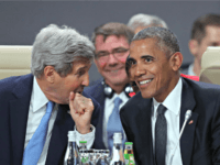 WARSAW, POLAND - JULY 08: U.S. President Barack Obama (R) and Secretary of State John Kerry attend the meeting of the North Atlantic Council at the Warsaw NATO Summit on July 8, 2016 in Warsaw, Poland. NATO member heads of state, foreign ministers and defense ministers are gathering for a …