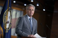 House Minority Leader Kevin McCarthy, R-Calif., speaks to reporters at a news conference on Capitol Hill in Washington, Thursday, April 4, 2019. House Democrats are rounding the first 100 days of their new majority taking stock of their accomplishments, noting the stumbles and marking their place as a frontline of …