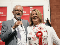 PETERBOROUGH, ENGLAND - JUNE 01: British Labour Party leader Jeremy Corbyn and the party's prospective parliamentary candidate Lisa Forbes talk to supporters in the run up to the Peterborough by-election on June 01, 2019 in Peterborough, England. The Peterborough by-election takes place on 6 June after the removal of former …