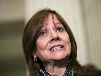 WASHINGTON, DC - DECEMBER 5: Mary Barra, chief executive officer of General Motors (GM), speaks to reporters after a meeting with Sen. Rob Portman (R-OH) and Sen. Sherrod Brown (D-OH) on Capitol Hill, December 5, 2018 in Washington, DC. GM is under fire for plans to cut around 8,000 salaried …