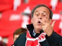 French former football player and former UEFA head Michel Platini (R) attends the French L1 football match between Nancy (ASNL) and Saint-Etienne (ASSE) on May 20, 2017 at Marcel Picot stadium in Tomblaine, eastern France. / AFP PHOTO / JEAN-CHRISTOPHE VERHAEGEN (Photo credit should read JEAN-CHRISTOPHE VERHAEGEN/AFP/Getty Images)
