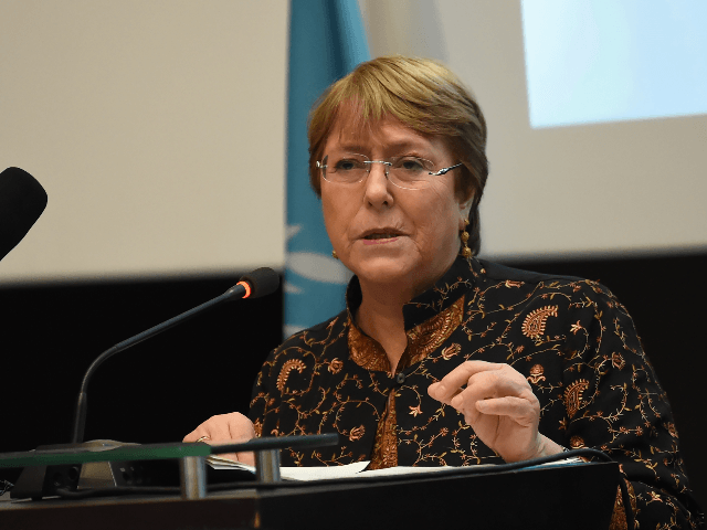"UN High Commissioner for Human Rights, Michelle Bachelet, addresses a symposium titled ""AHD al-Aman"" in the Tunisian capital, Tunis, on June 13, 2019. (Photo by FETHI BELAID / AFP) (Photo credit should read FETHI BELAID/AFP/Getty Images)"