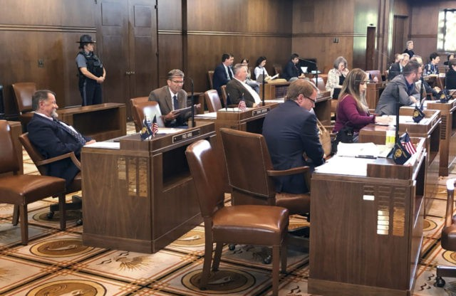 Enough Republican state senators returned to the Oregon Senate in Salem on Monday, May 13, 2019, to end a standoff in its fifth day, in which GOP senators kept the Senate from reaching a quorum. Seen here, from left in the foreground, are Republican senators Fred Girod, Dennis Linthicum, Herman …