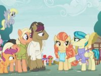 "This photo provided by Hasbro Studios LLC/Discovery Family shows a scene from the Discovery Family Channel cartoon series "" My Little Pony: Friendship is Magic"" coinciding with Pride Month. ""My Little Pony"" has introduced a same-sex couple on the show for the first time. Writer-producer Michael Vogel told People on …"