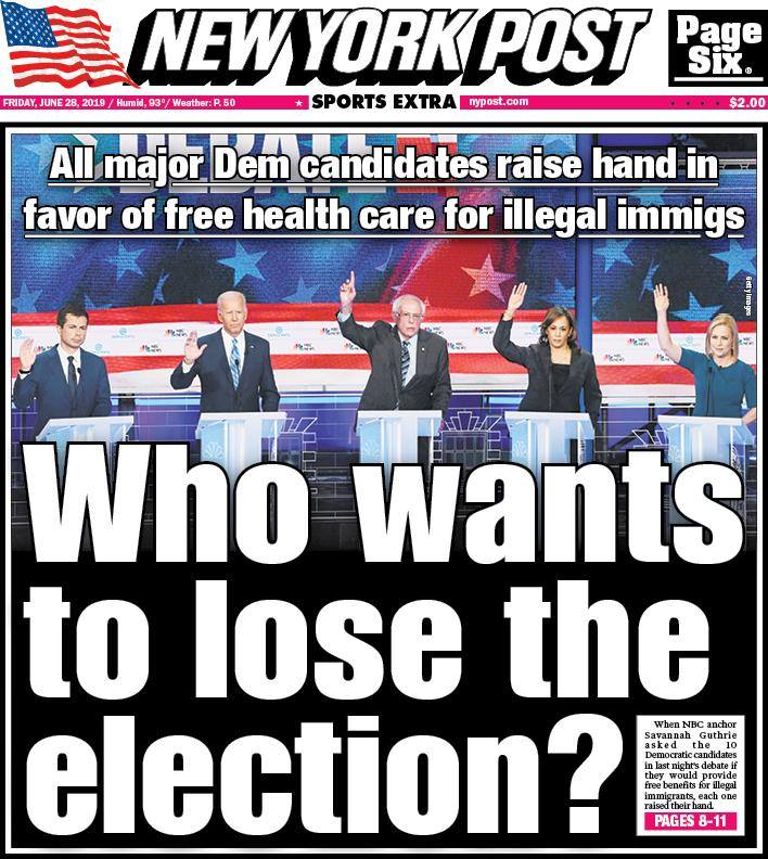 New York Post Cover on Democrats Promising Illegal Aliens Free Health Care: 'Who Wants to Lose the Election?'