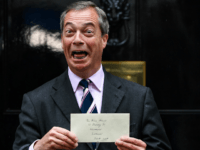 LONDON, ENGLAND - JUNE 07: Nigel Farage, leader of the Brexit party hands in a petition to 10 Downing Street on June 7, 2019 in London, England. Nigel Farage and Richard Tice of The Brexit Party delivered a letter to Prime Minister Theresa May detailing their vision and demands for …