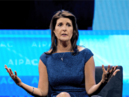 Former Ambassador to the U.N. Nikki Haley speaks at the 2019 American Israel Public Affairs Committee (AIPAC) policy conference, at Washington Convention Center, in Washington, Monday, March 25, 2019. (AP Photo/Jose Luis Magana)
