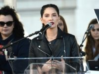 LOS ANGELES, CA - JANUARY 20: Olivia Munn speaks onstage at 2018 Women's March Los Angeles at Pershing Square on January 20, 2018 in Los Angeles, California. (Photo by Amanda Edwards/Getty Images for The Women's March Los Angeles)