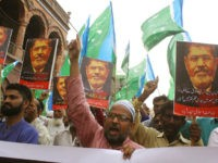 Supporters of the Pakistani religious party Jamaat-i-Islami, chant slogans for ousted former Egyptian President Mohammed Morsi in Hyderabad, Pakistan. Tuesday, June 18, 2019. Morsi, Egypt's first democratically elected president ousted by the military in 2013, collapsed during a trial session in Cairo on Monday and died. (AP Photo/Pervez Masih)