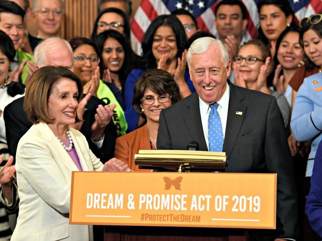 House Speaker Nancy Pelosi of Calif., front left, shakes hands with House Minority Whip Steny Hoyer, D-Md. front right, during an event on Capitol Hill in Washington, Tuesday, June 4, 2019, regarding the American Dream and Promise Act which offers a pathway to citizenship for those with Deferred Action for …