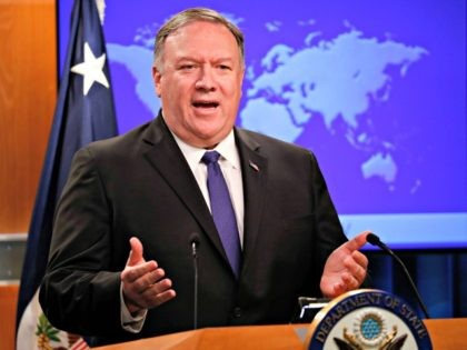 Secretary of State Mike Pompeo speaks to members of the media at the State Department, Monday, June 10, 2019. (AP Photo/Pablo Martinez Monsivais)
