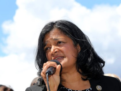 SEATAC, WA - JUNE 09: Congresswoman Pramila Jayapal speaks at a press conference outside a Federal Detention Center holding migrant women on June 9, 2018 in SeaTac, Washington. Congresswoman Pramila Jayapal visited the Federal Detention Center-SeaTac to meet with more than 100 asylum seekers, many of whom are women. (Photo …