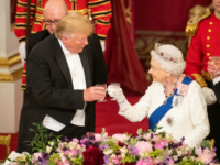 TOPSHOT - Britain's Queen Elizabeth II (R) raises a glasses with US President Donald Trump during a State Banquet in the ballroom at Buckingham Palace in central London on June 3, 2019, on the first day of the US president and First Lady's three-day State Visit to the UK. - …