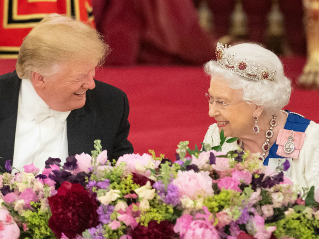 Britain's Queen Elizabeth II (R) laughs with US President Donald Trump during a State Banquet in the ballroom at Buckingham Palace in central London on June 3, 2019, on the first day of the US president and First Lady's three-day State Visit to the UK. - Britain rolled out the …