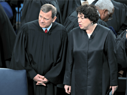 WASHINGTON, DC - JANUARY 21: Supreme Court Chief Justice John Roberts and Supreme Court Justice Sonia Sotomayor attend the presidential inauguration on the West Front of the U.S. Capitol January 21, 2013 in Washington, DC. Barack Obama was re-elected for a second term as President of the United States. (Photo …