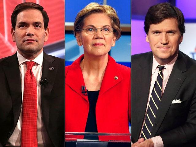 Marco Rubio, Elizabeth Warren, Tucker Carlson- collage.