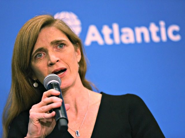 "WASHINGTON, DC - JANUARY 17: U.S. Permanent Representative to the United Nations Samantha Power speaks during a discussion at the Atlantic Council on ""The Future of U.S.-Russia Relations."" on January 17, 2017 in Washington, DC. As President-elect Donald Trump prepares to be sworn in on Friday the 20th, ambassador Power …"