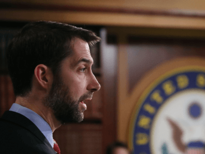 Sen. Tom Cotton (R-AK) speak to the media during a news conference on Capitol Hill, February 7, 2017 in Washington, DC. Cotton along with David Perdue (R-GA) unveiled immigration legislation they say is aimed at cutting the number of green cards issued annually by the U.S. in half. (Photo by …
