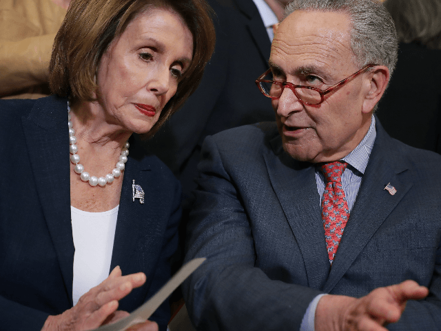 peaker of the House Nancy Pelosi (D-CA) (L) and Senate Minority Leader Charles Schumer (D-NY) lead a rally and news conference ahead of a House vote on health care and prescription drug legislation in the Rayburn Room at the U.S. Capitol May 15, 2019 in Washington, DC. The bicameral group …