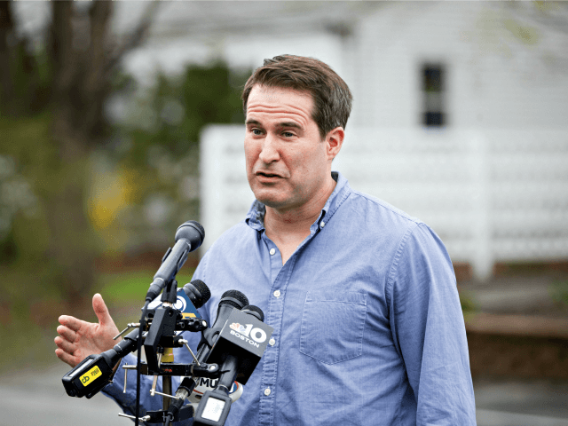 MANCHESTER, NH - APRIL 23: Democratic presidential candidate Rep. Seth Moulton (D-MA) speaks to media before participating in a community project on April 23, 2019 in Manchester, New Hampshire. (Photo by Scott Eisen/Getty Images)